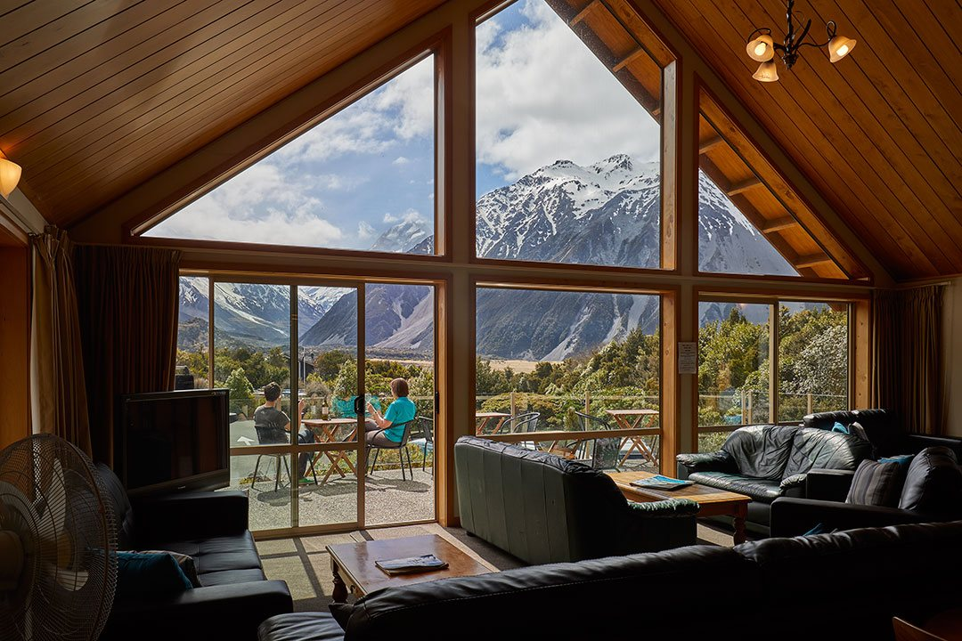 Aoraki Mt Cook Alpine Lodge facilities view deck