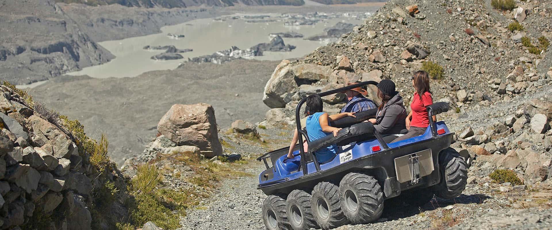 Tasman Valley 4WD vehicle tour along the Tasman Glacier and historic Ball Hut Road