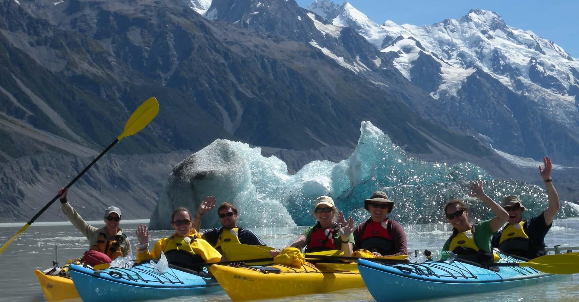 kayaking tour on the Tasman Glacier terminal lake