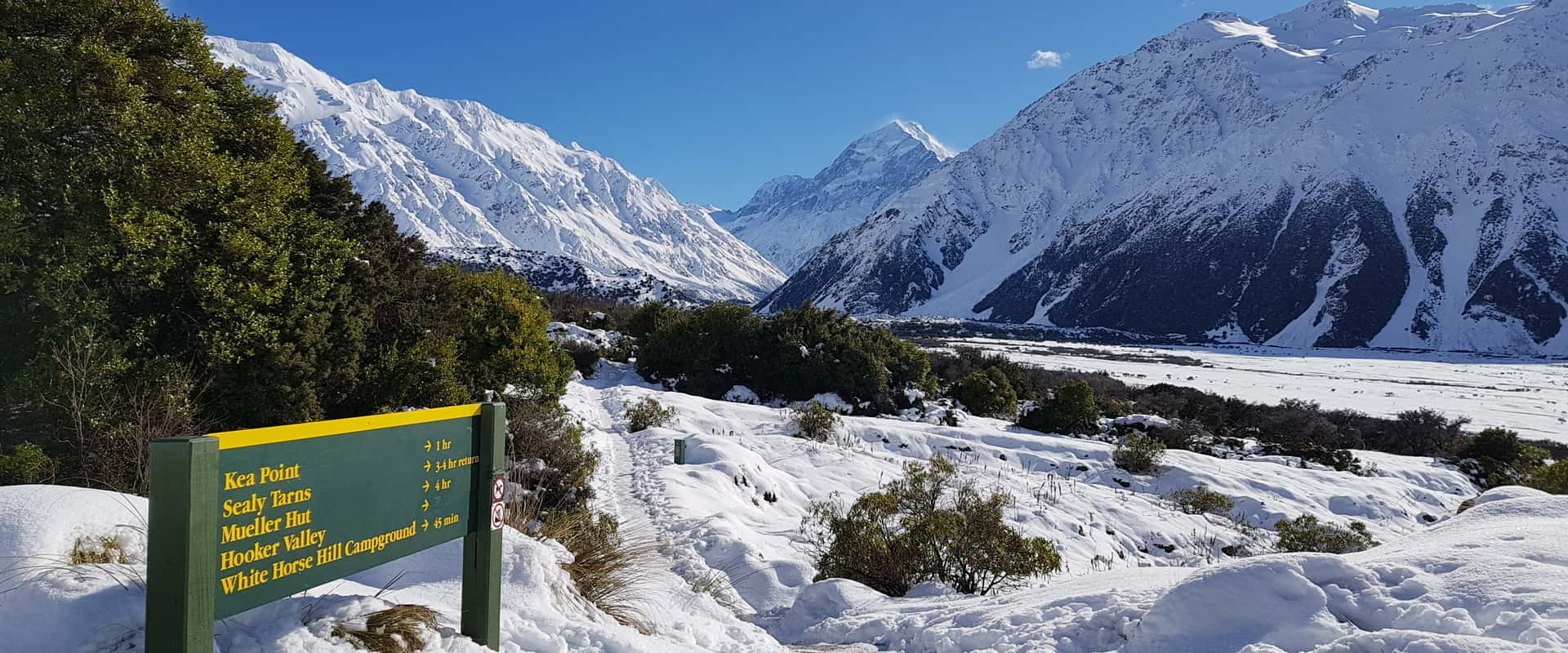 sign listing information on Aoraki Mount Cook National Park walking tracks